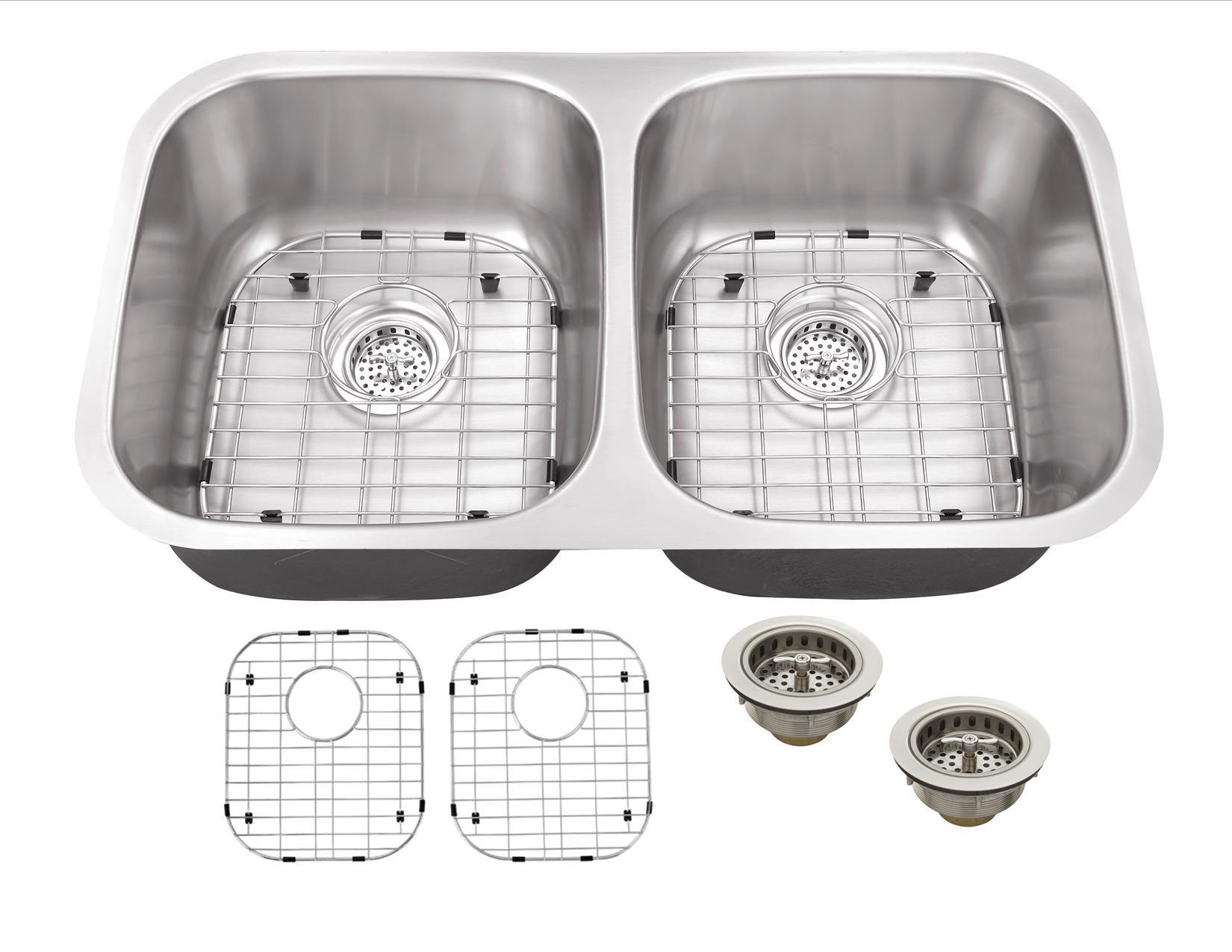 Cahaba CA121132 16 Gauge Double Kitchen Sink w/ Grid Set & Drain Assemblies
