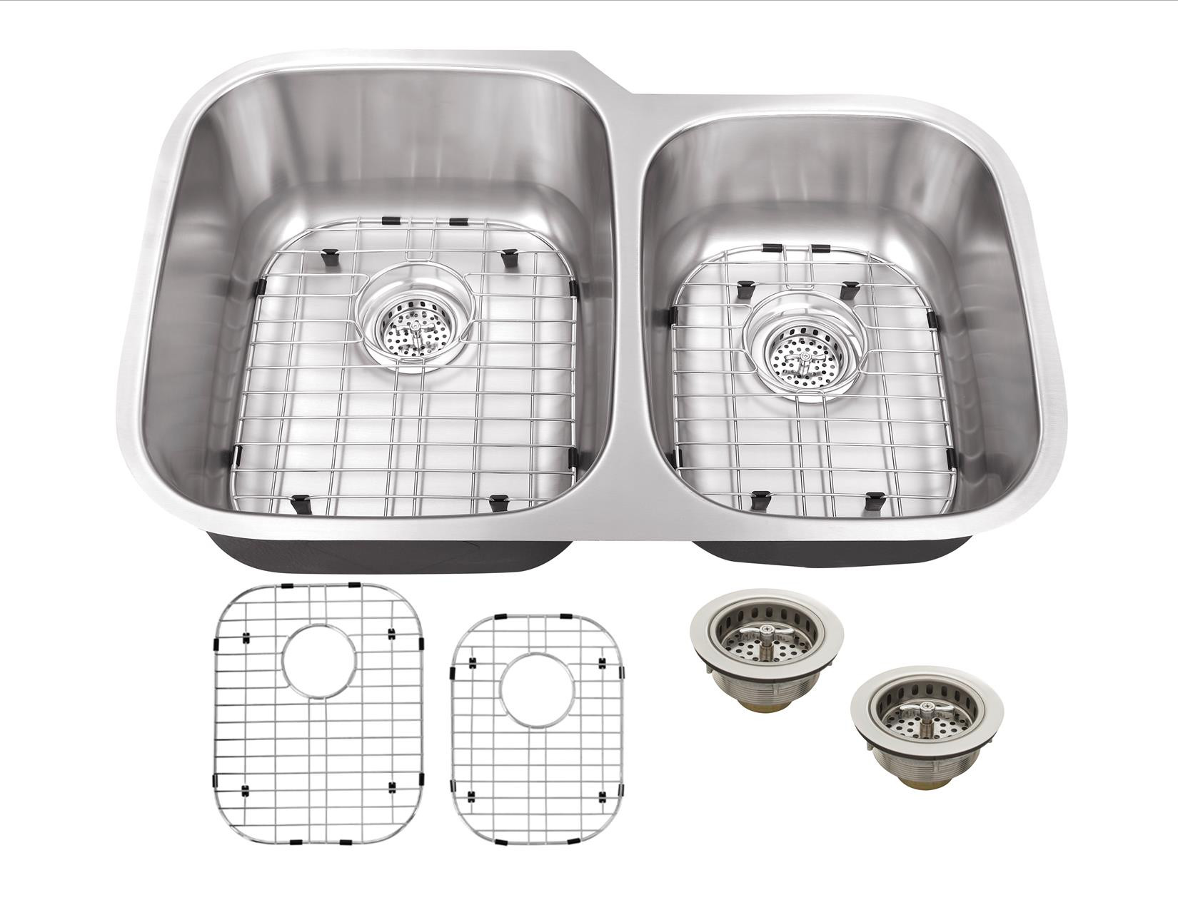 Cahaba CA121232 16 Gauge Double KitchenSink w Grid Set and Drain Assemblies