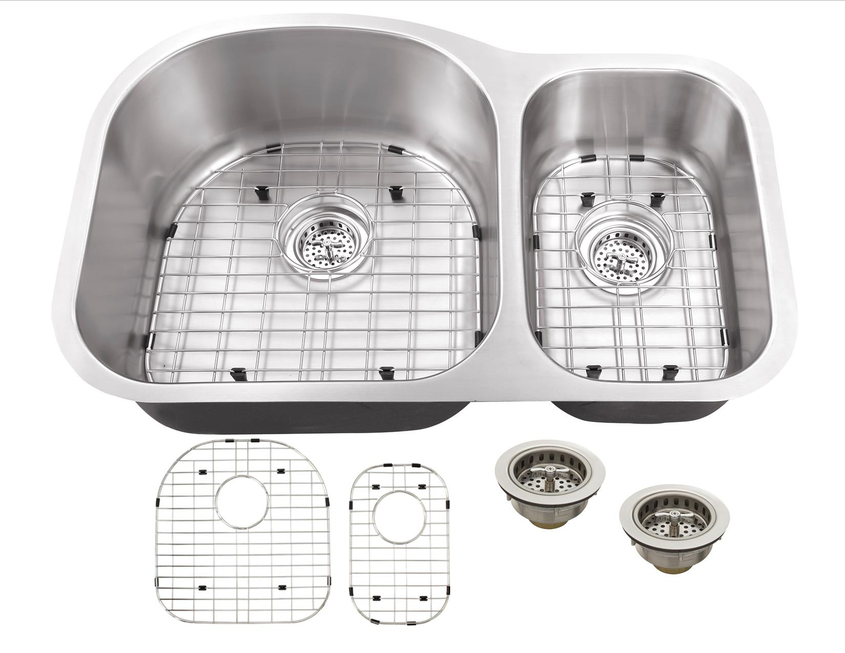 Cahaba CA121432 16 Gauge Double Kitchen Sink w/ Grid Set & Drain Assemblies