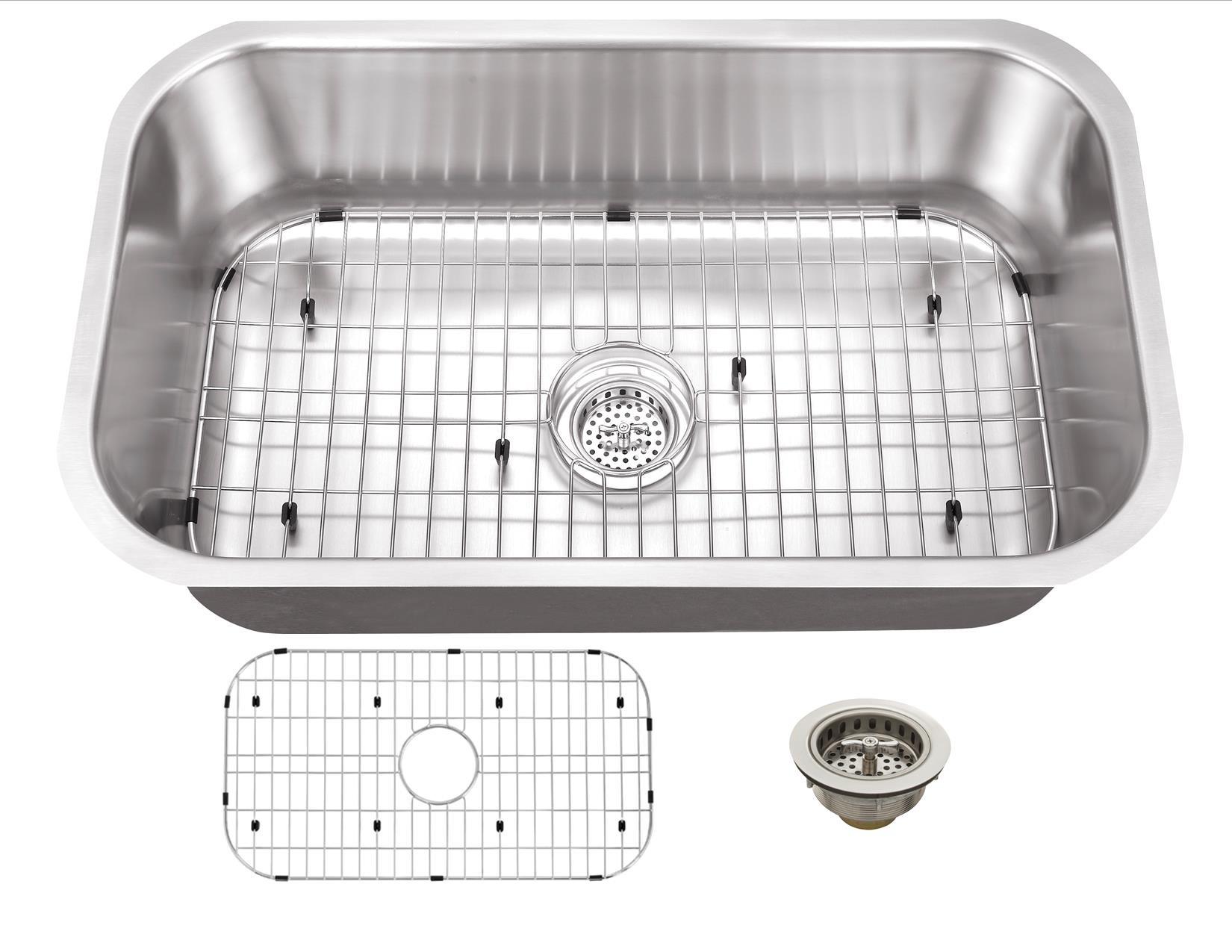 Cahaba CA121SB30 16 Gauge Single Kitchen Sink w/ Grid Set & Drain Assembly