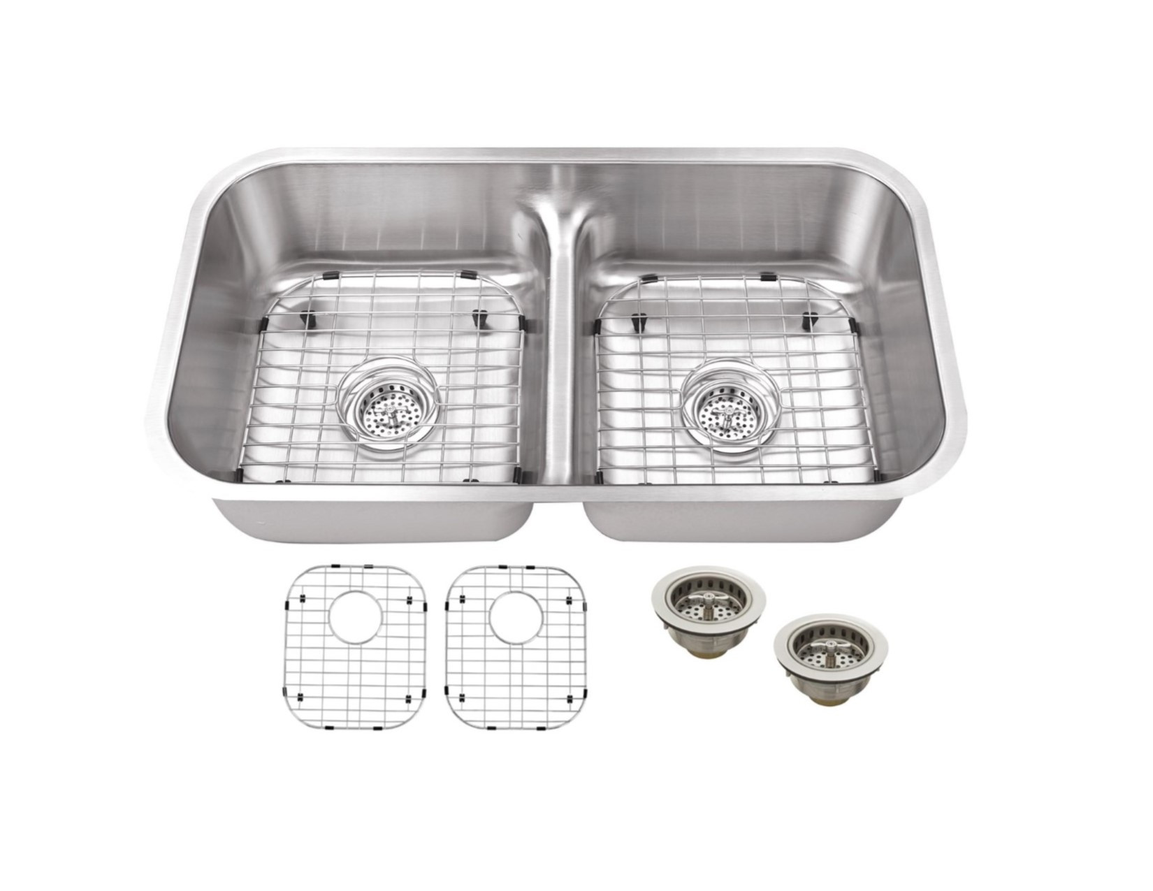 Cahaba CA1221L32 18 Gauge Double Bowl Kitchen Sink With Grid Set and Drain