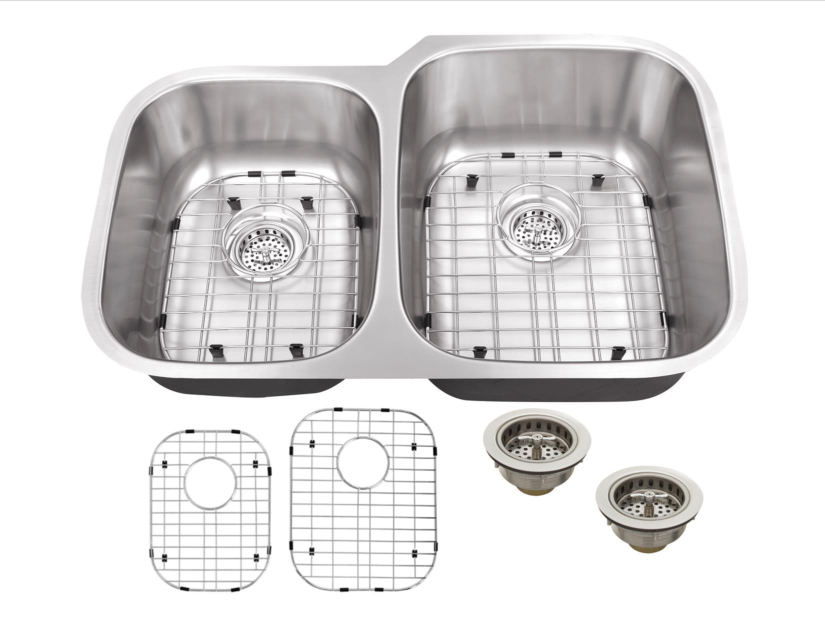Cahaba CA122332 18 Gauge Double Bowl Kitchen Sink With Grid Sets and Drain
