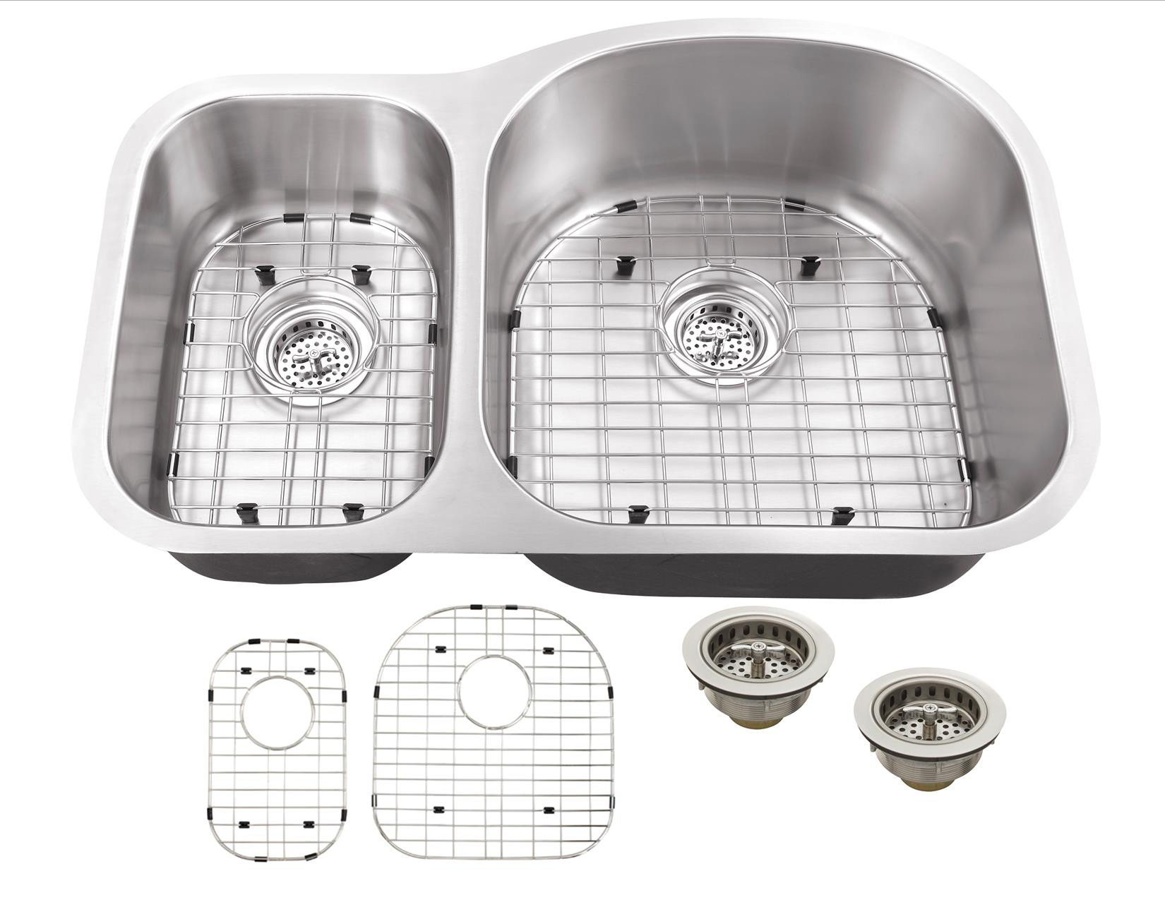 Cahaba CA122532 18 Gauge Double Bowl Kitchen Sink With Grid Sets and Drain