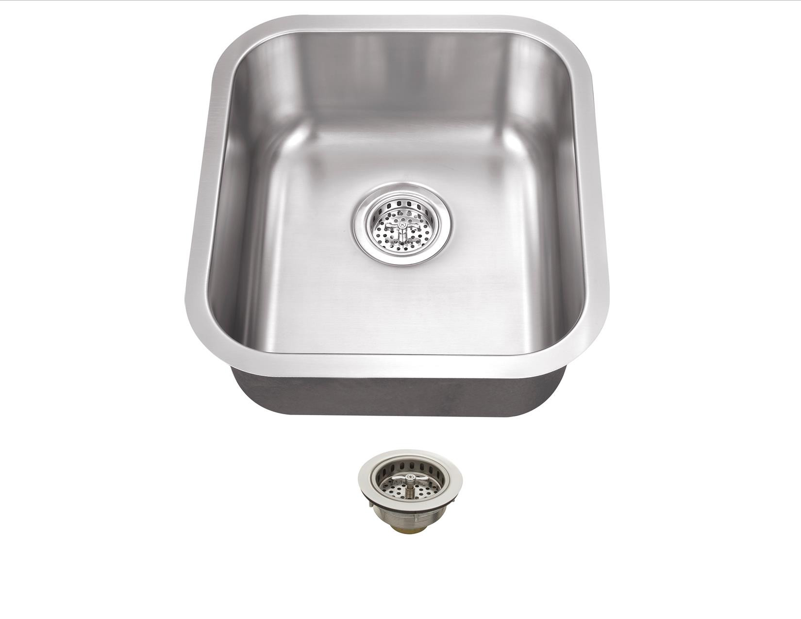 Cahaba CA122SB16 18 Gauge S. Steel Single Bowl Bar Sink With Drain Assembly