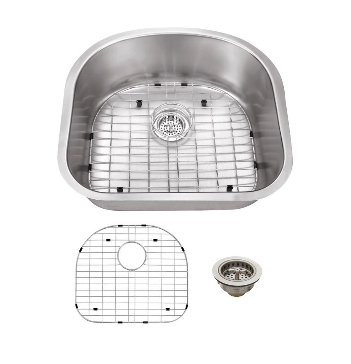 Cahaba CA122SBD30 18 Gauge Single D-Shape Kitchen Sink w/ Grid Set & Drain
