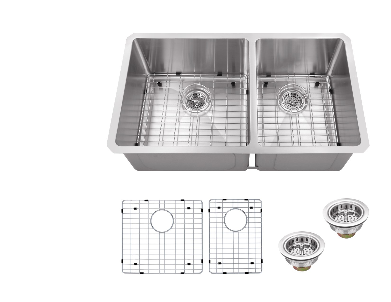 Cahaba CA221232 16 Gauge Kitchen Sink With Grid Set And Drain Assemblies