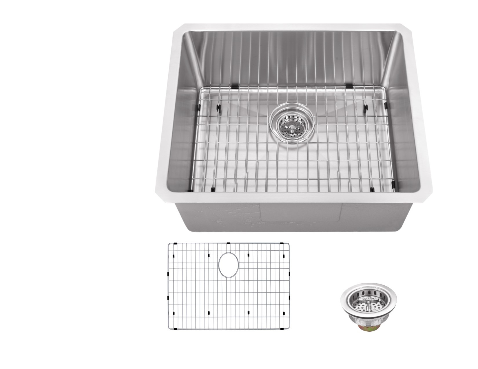 Cahaba CA221SB23 16 Gauge Kitchen/Bar Sink With Grid Set & Drain Assembly