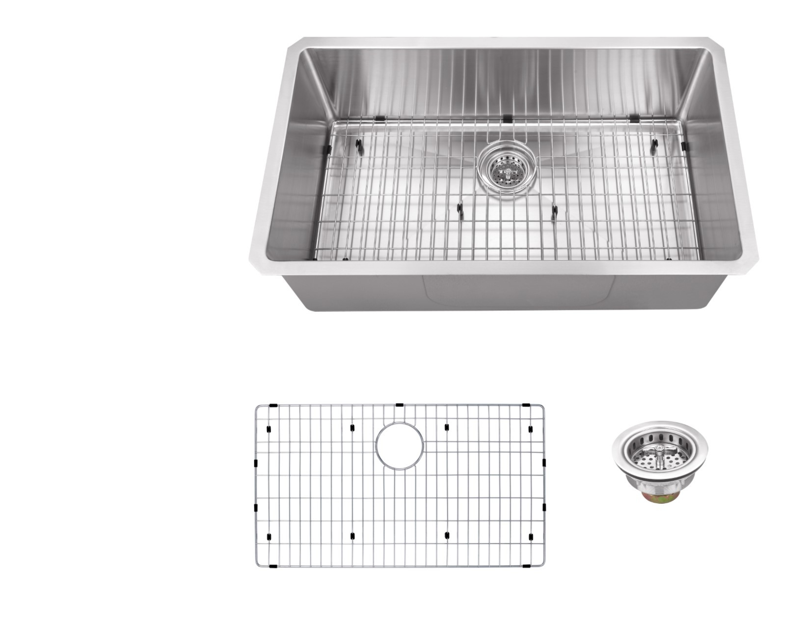 Cahaba CA221SB32 16 Gauge Single Kitchen Sink w/ Grid Set & Drain Assembly