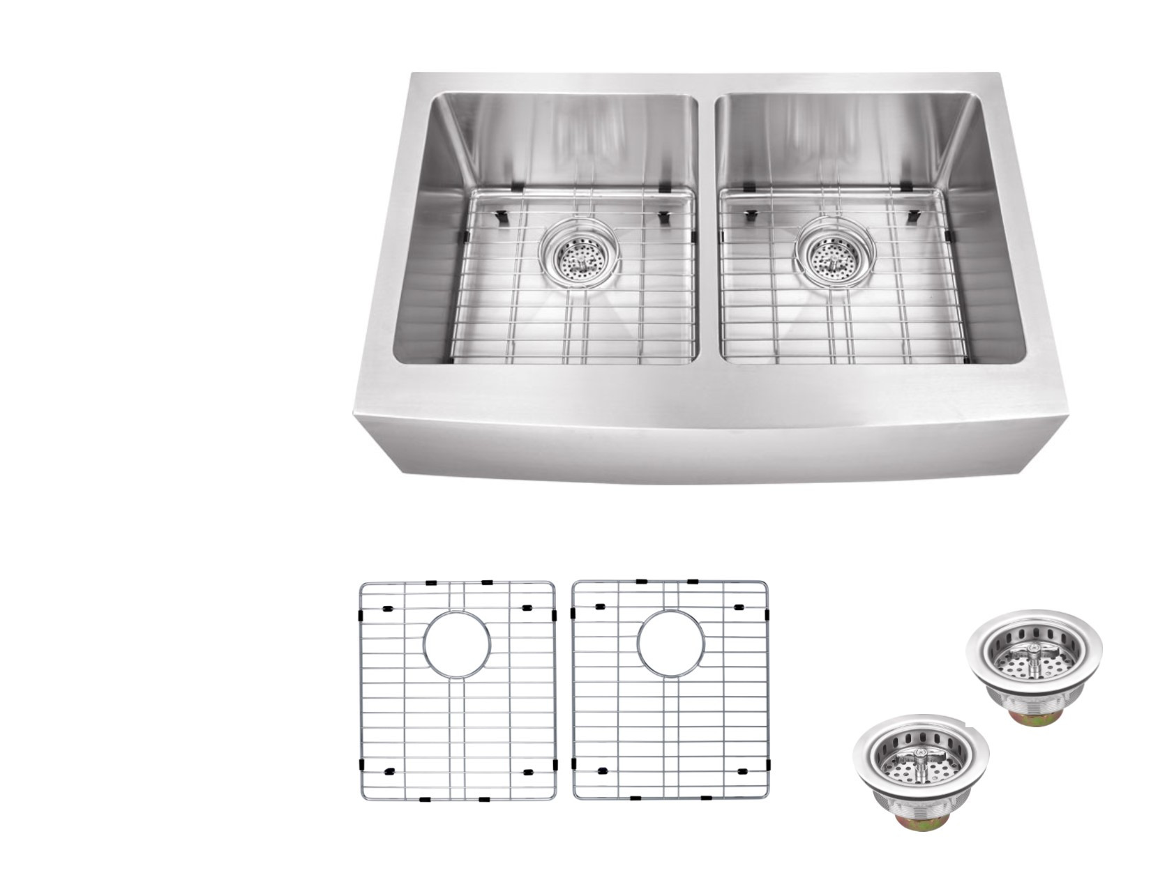 Cahaba CA231132 16 Gauge Double Bowl Apron Front Kitchen Sink With Grid Set