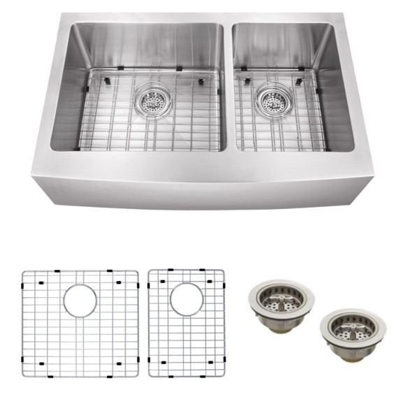 Cahaba CA231235 16 Gauge Apron Front Double Bowl Kitchen Sink With Grid Set