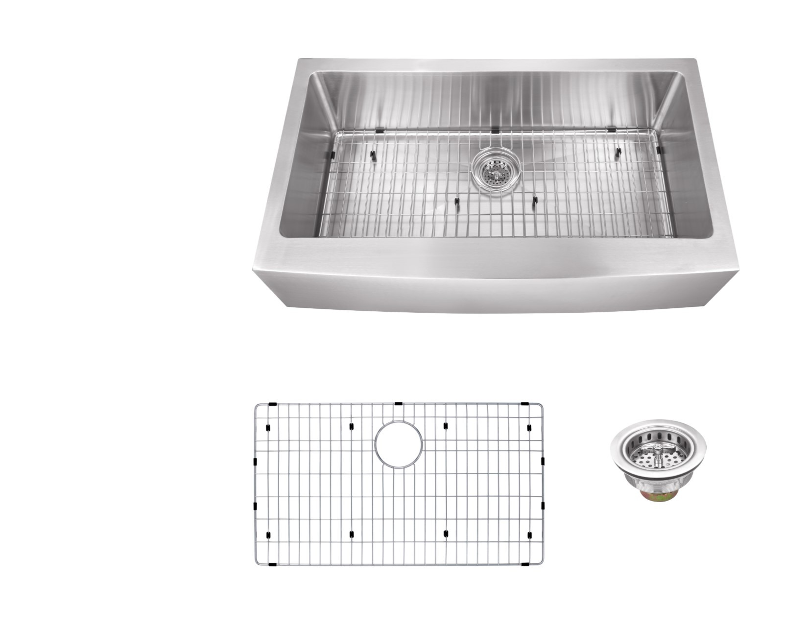 Cahaba CA231SB3516 Gauge Apron Front Single Bowl Kitchen Sink With Grid Set