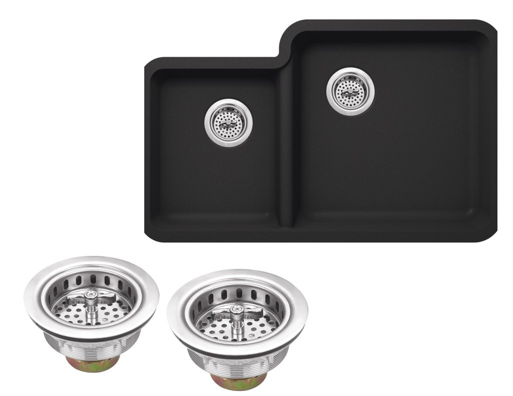 Cahaba CA324333-B Quartz Kitchen Sink in Black With Twist & Lock Strainer