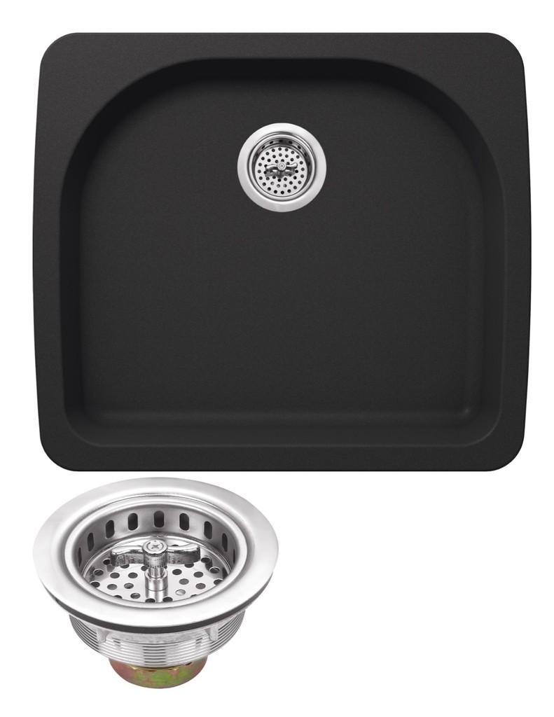 Cahaba CA344D25-B Quartz Bowl Kitchen Sink in Black w Twist & Lock Strainer