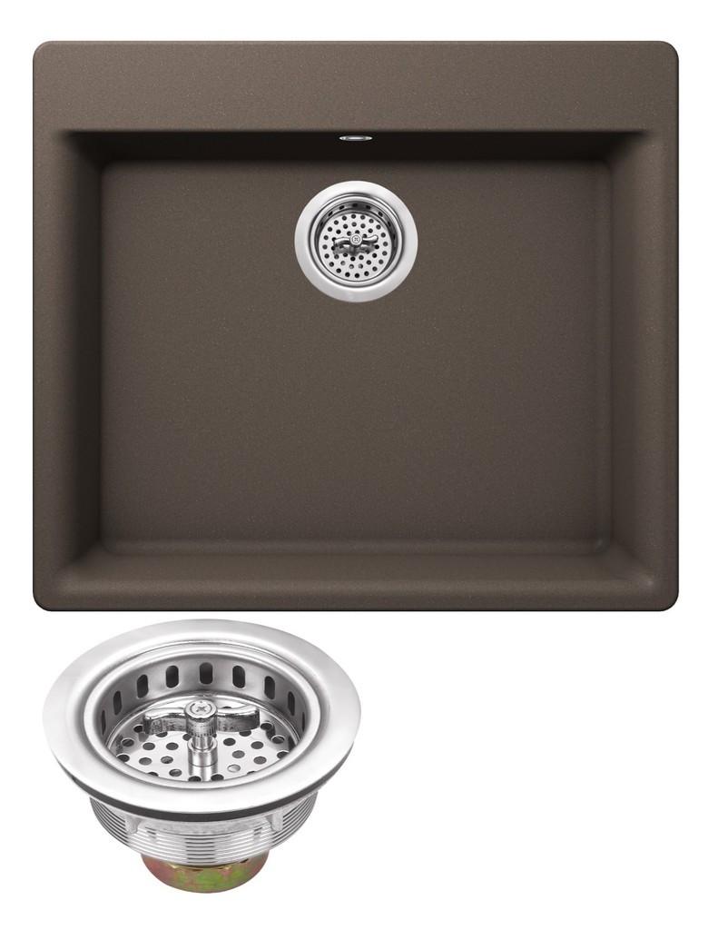 Cahaba CA344SB24-B Quartz Kitchen Sink in Black With Twist & Lock Strainer
