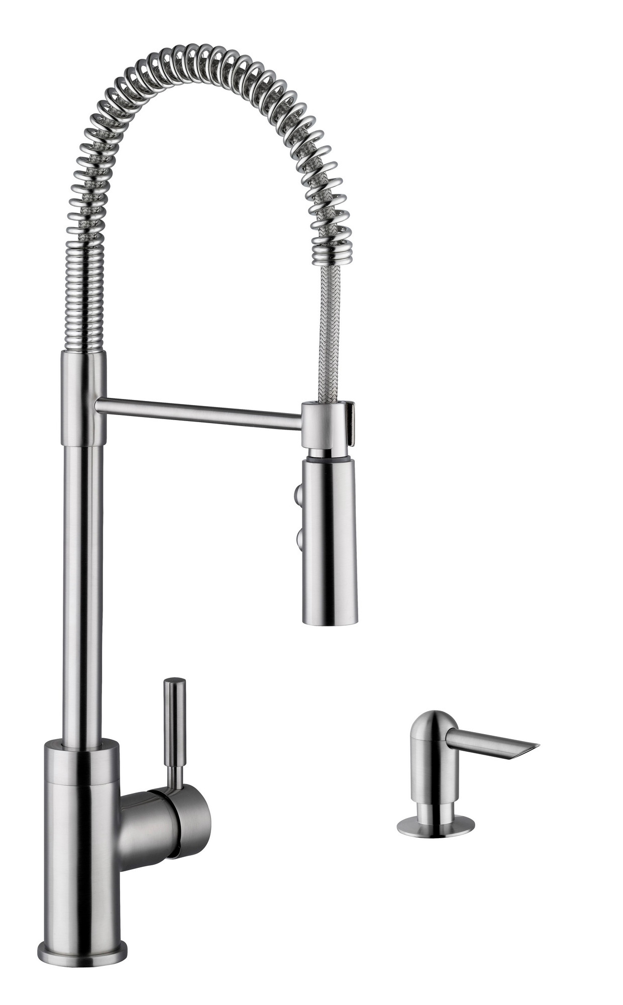 Cahaba CA6113SS Single Hole Pull Down Industrial Faucet With Soap Dispenser
