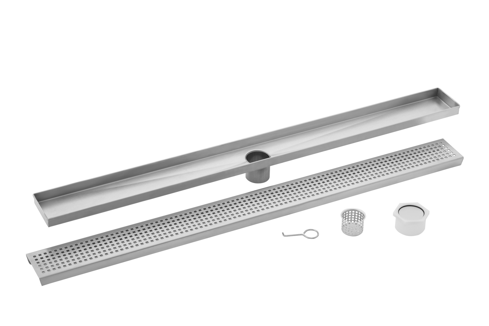 Cahaba CAHSP26 26 Inch Stainless Steel Square Grate Linear Shower Drain
