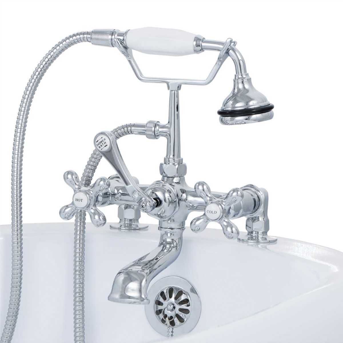 Cambridge CAM463-2-CP Clawfoot Tub Deck Mount Faucet With Hand Held Shower