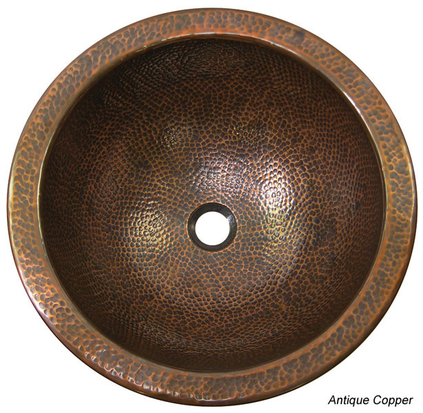 Copper Factory CF150 Hand Hammered Large Lavatory Sink + External Overflow