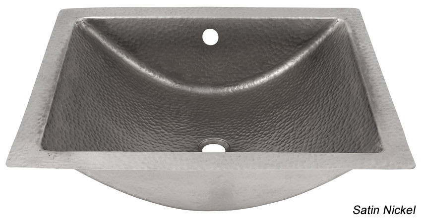 Copper Factory CF169 Hammered Concave Lavatory Sink + External Overflow