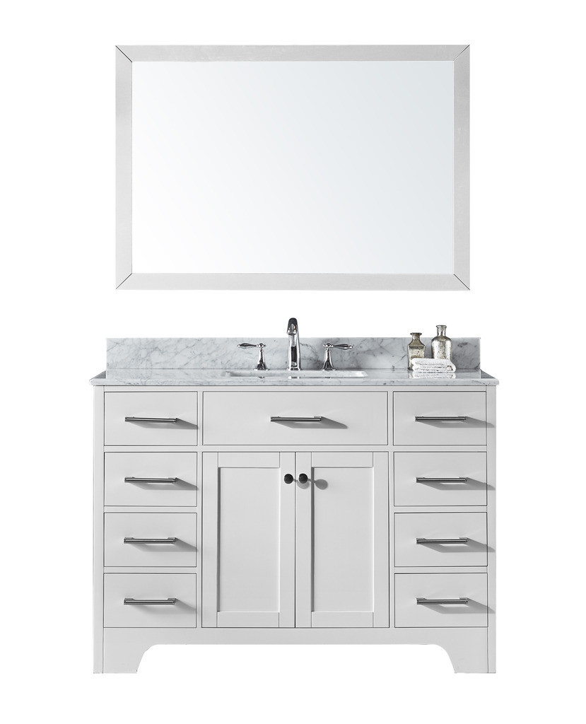 Exclusive Heritage CL-10048S-WMWH Single Sink Vanity in White w Marble Top
