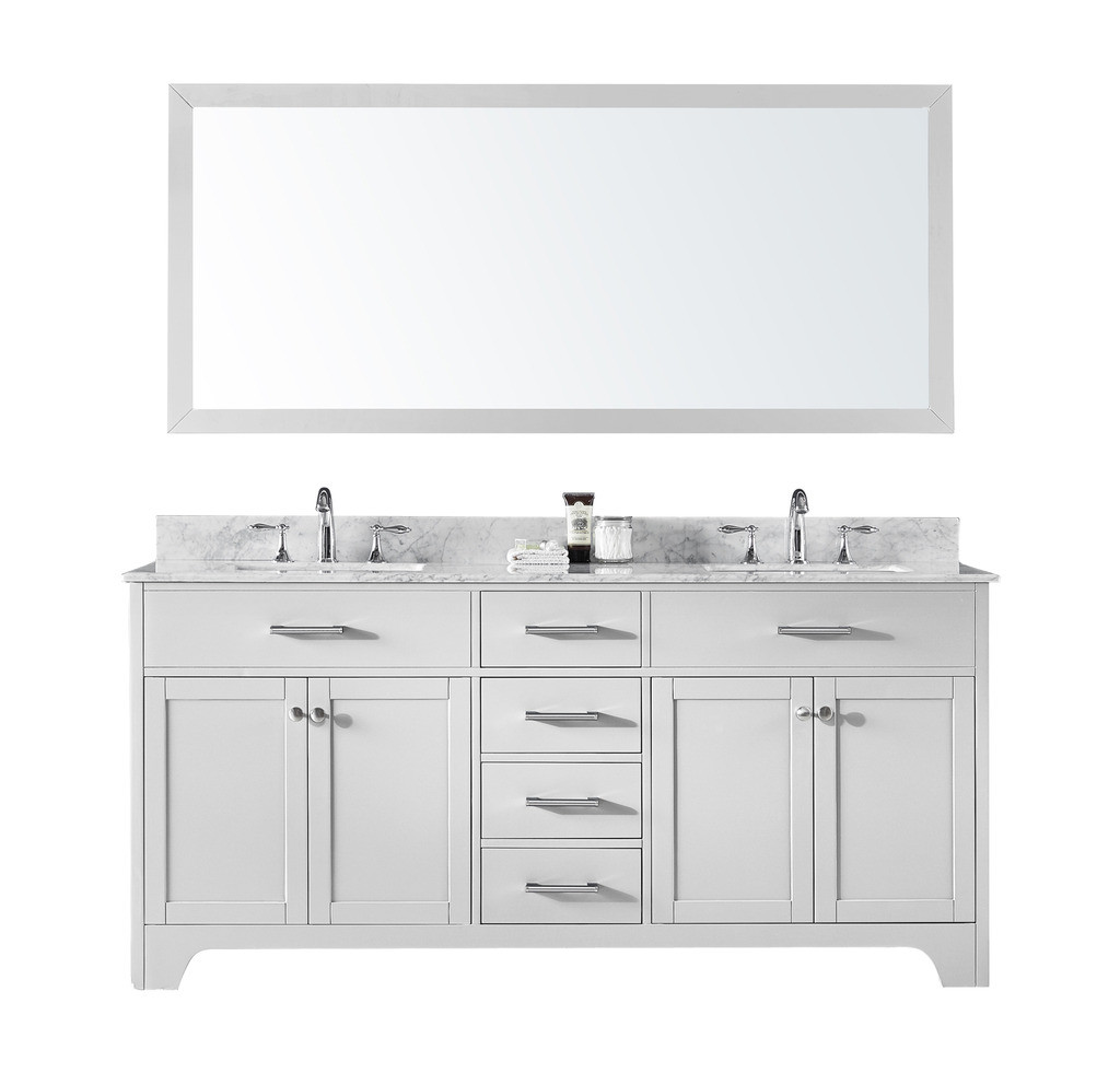 Exclusive Heritage CL-10072D-WMWH Double Sink Vanity in White w/ Marble Top