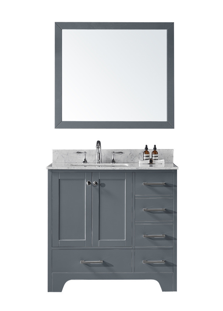 Exclusive Heritage CL-10136S-WMCG Single Sink Vanity in Grey w/ Marble Top