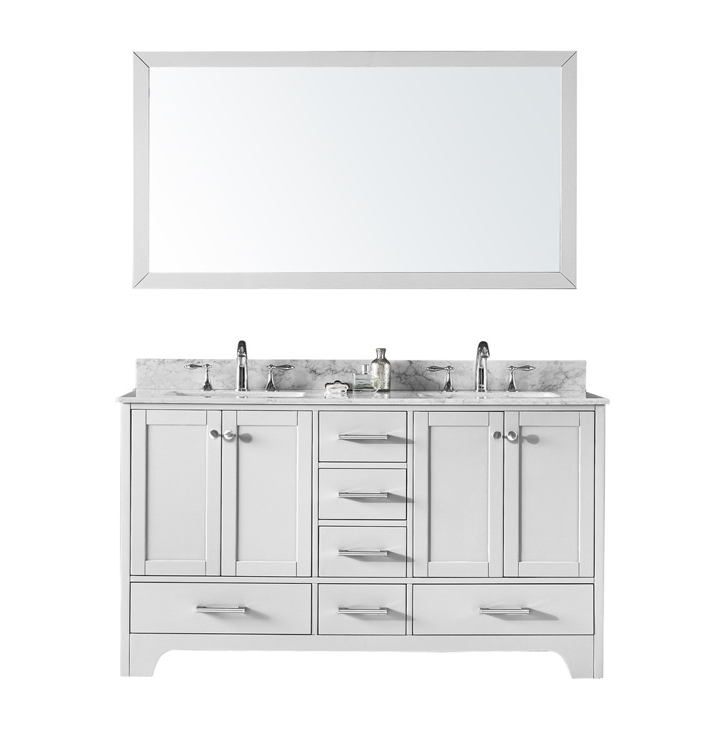 "Exclusive Heritage CL-10160D-WM 60"" Double Sink Vanity Set With Marble Top"