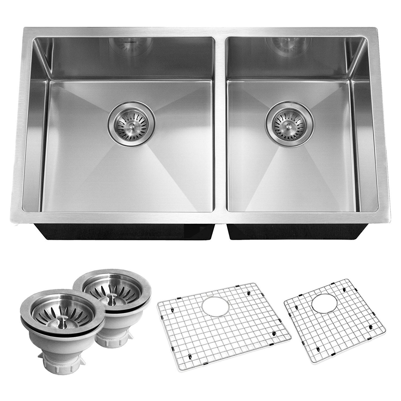 Houzer CND-3360 Savoir Series 10mm Radius Undermount Double Bowl Kitchen Sink
