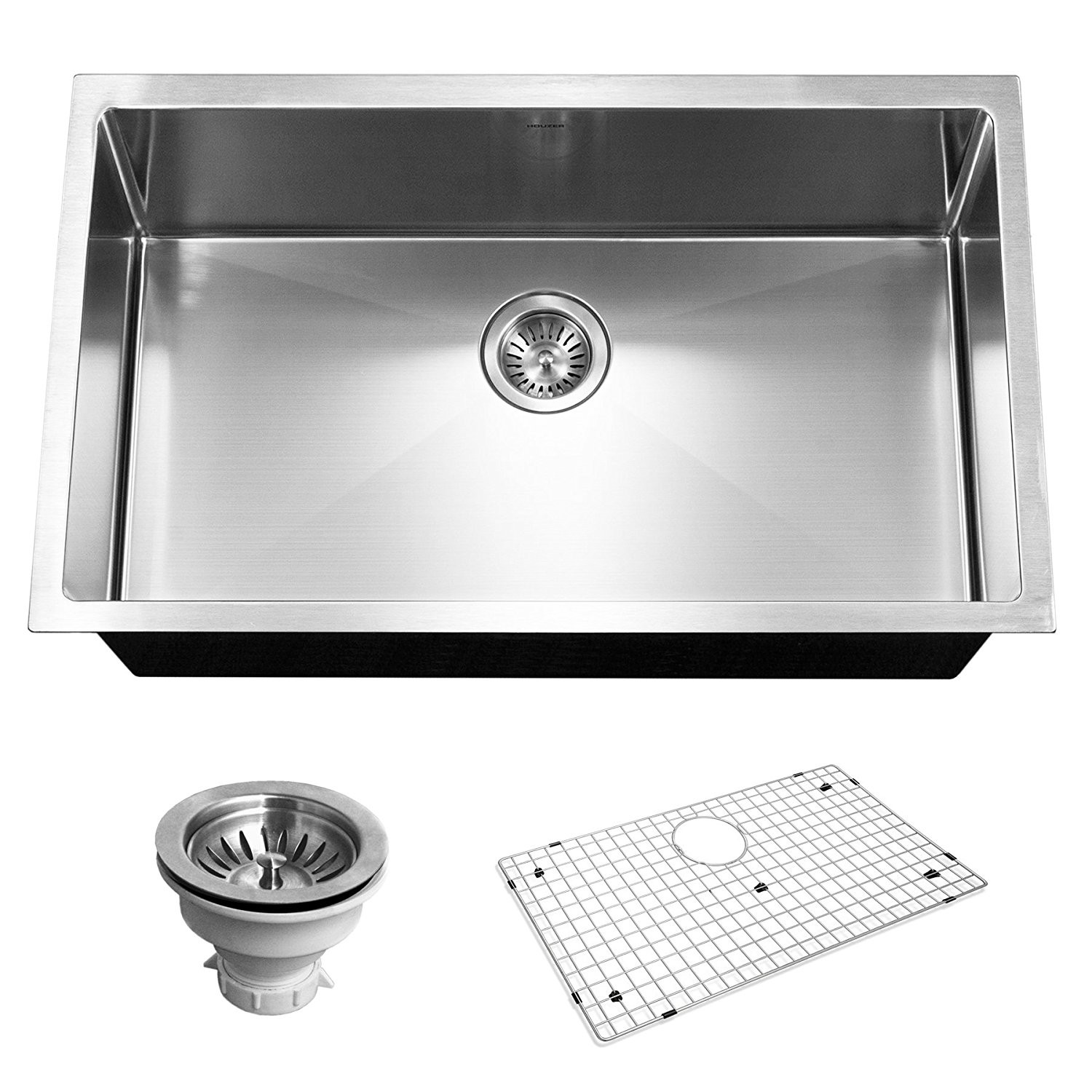 Houzer CNG-3200 Savoir Series 10mm Radius Undermount Large Single Bowl Kitchen Sink