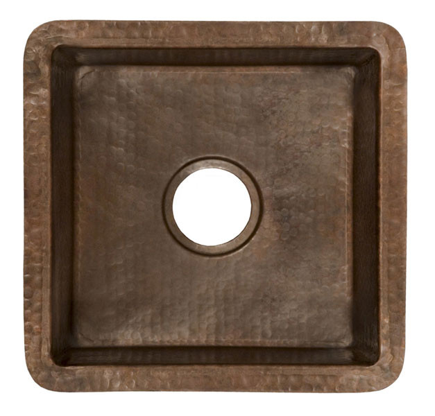 Native Trails CPS.34 Cantina Hammered Copper Square Kitchen Prep / Bar Sink