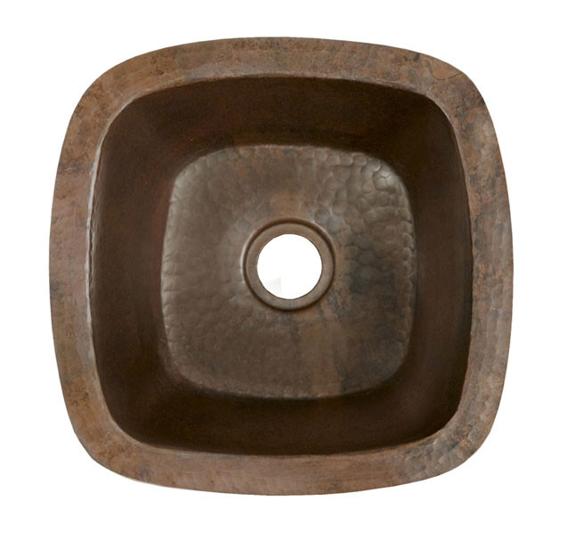 Native Trails CPS.47 Small Hammered Copper Square Kitchen Prep / Bar Sink