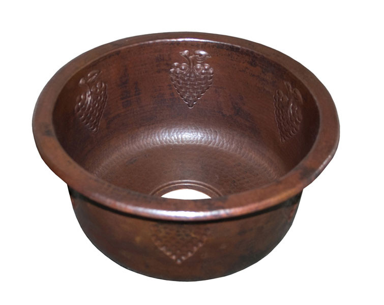 Native Trails CPS.61 Grapes Copper Round Decorative Kitchen Prep / Bar Sink