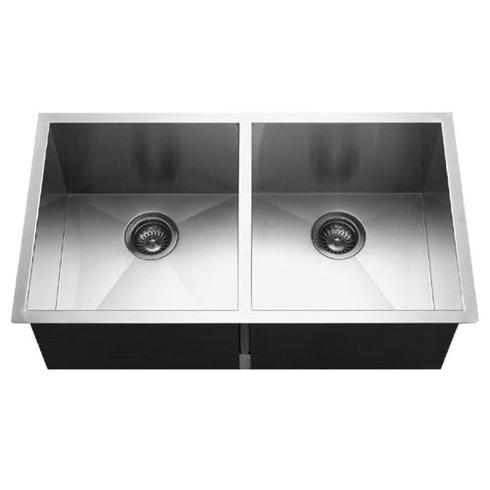 Houzer CTD-3350 Contempo Series Undermount Stainless Steel 50/50 Double Bowl Kitchen Sink