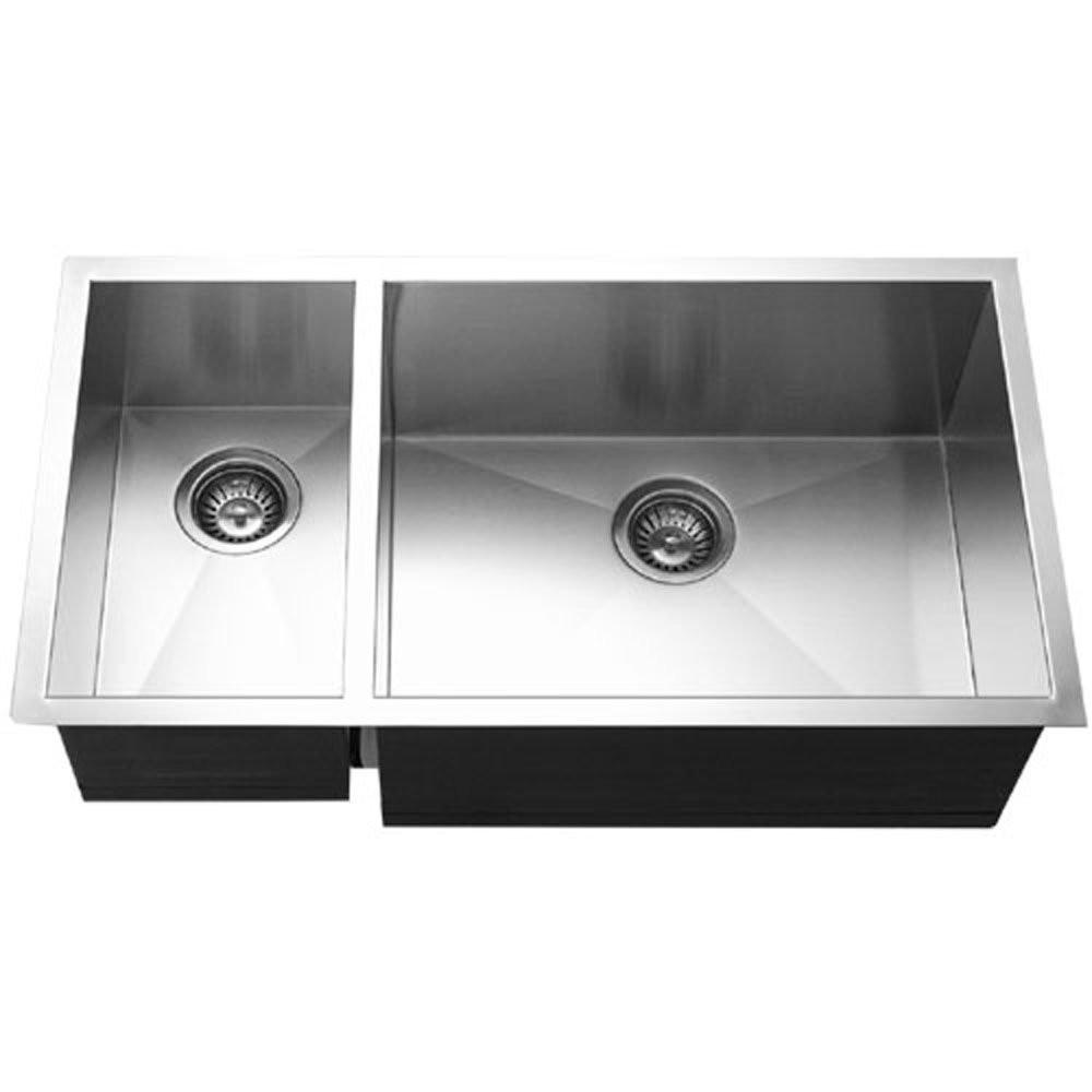 Houzer CTO-3370SL Contempo Series Undermount Stainless Steel Kitchen Sink With Left Prep Bowl