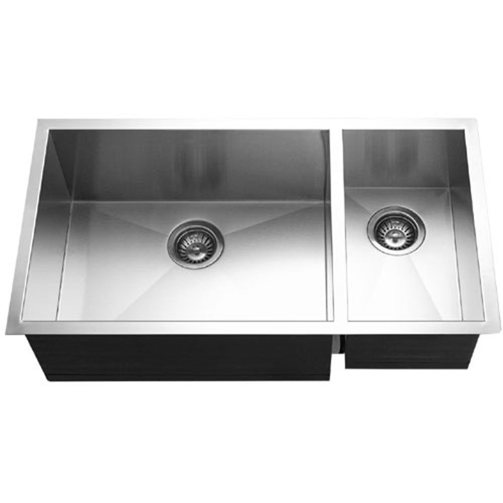 Houzer CTO-3370SR Contempo Series Undermount Stainless Steel Kitchen Sink With Right Prep Bowl