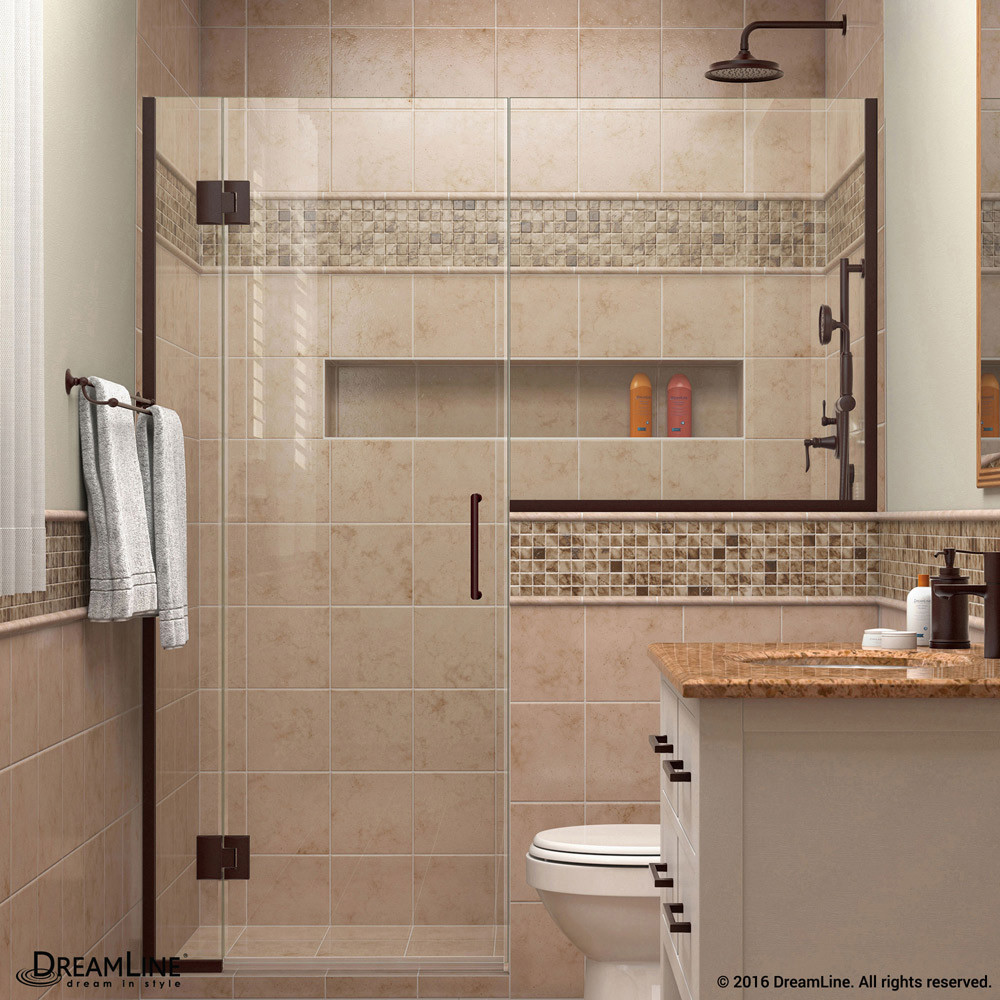 DreamLine D1242434-06 Oil Rubbed Bronze Unidoor-X 54 - 54 1/2 in. W x 72 in. H Hinged Shower Door