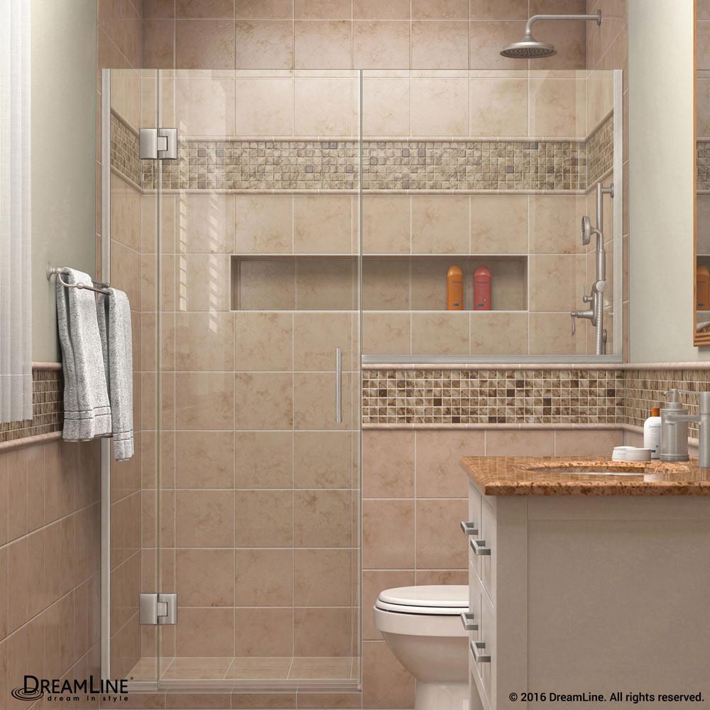 DreamLine D1243636-04 Unidoor-X 66 - 66 1/2 in. W x 72 in. H Hinged Shower Door in Brushed Nickel
