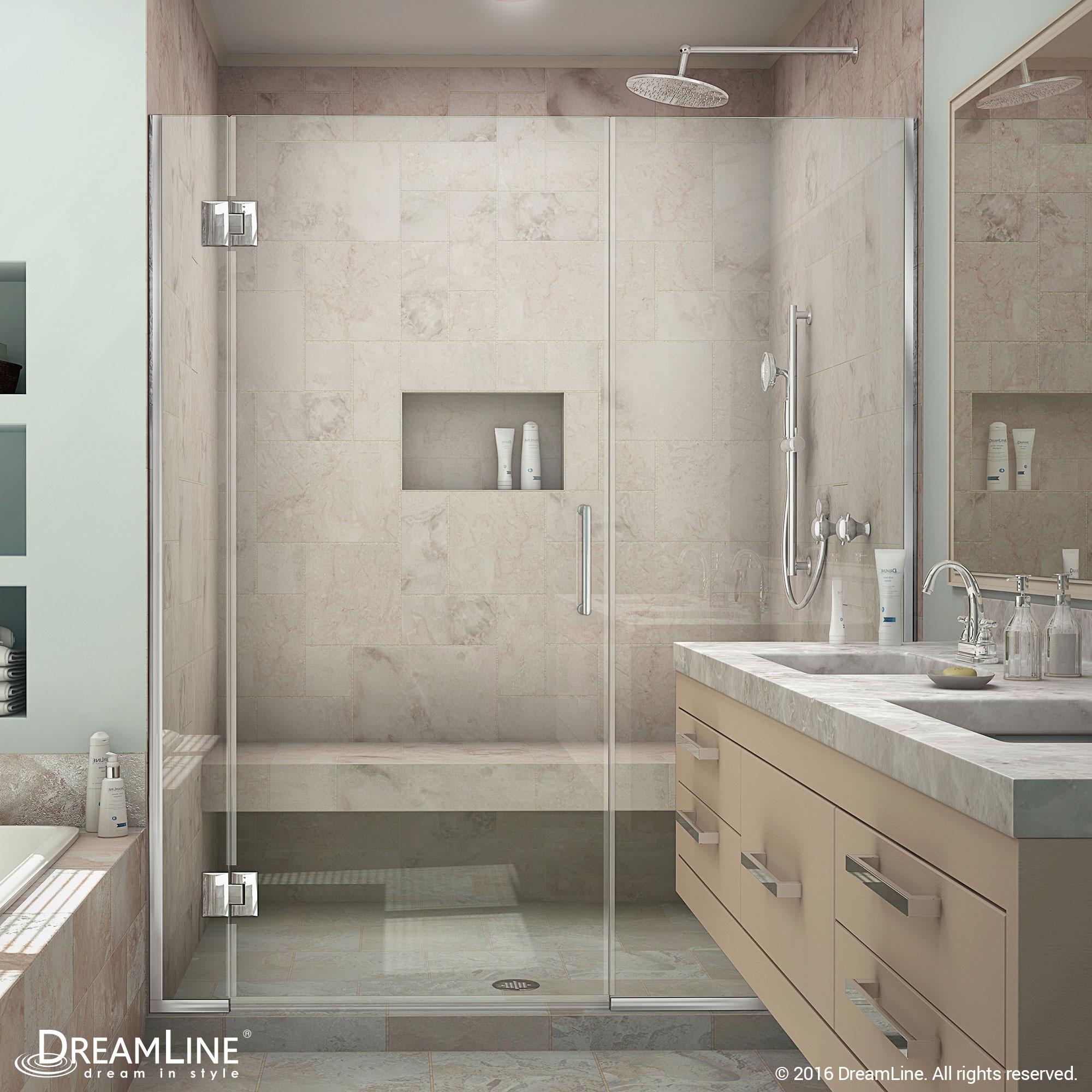 DreamLine D12722572-01 Unidoor-X 55 1/2 - 56 in. W x 72 in. H Hinged Shower Door in Chrome Finish