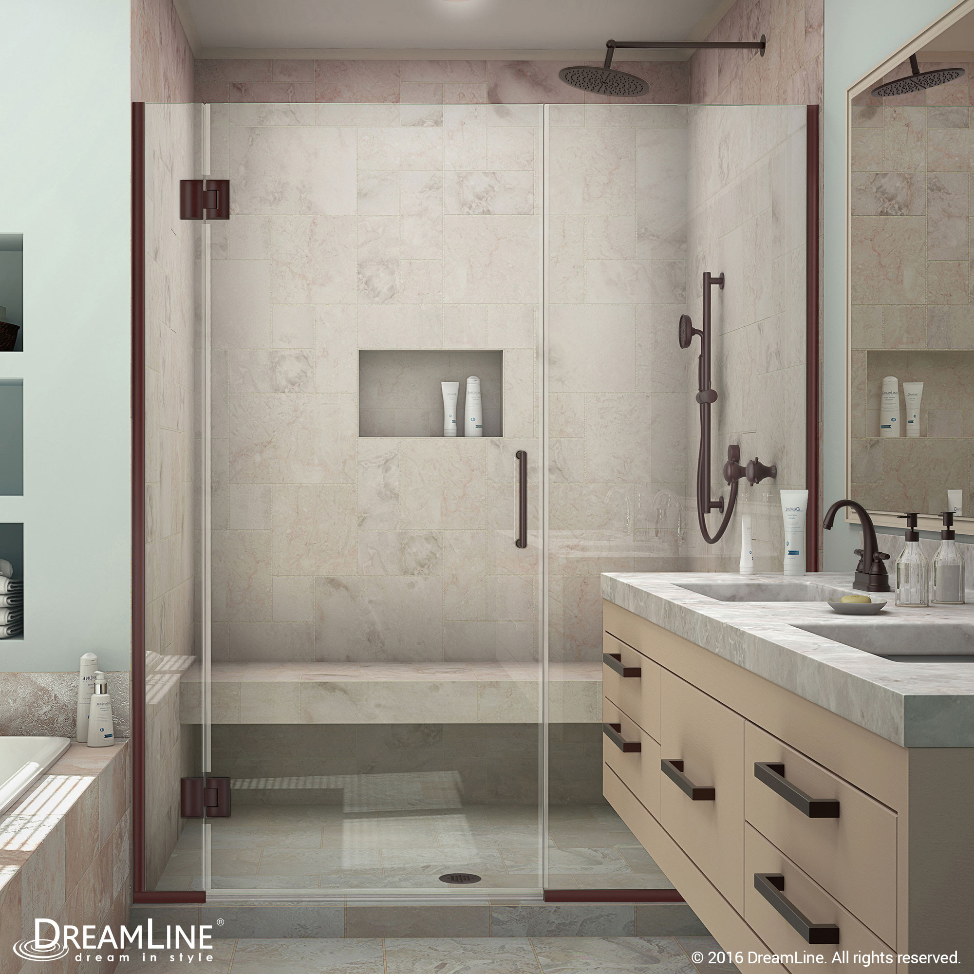 DreamLine D1282272-06 Oil Rubbed Bronze Unidoor-X 56 - 56 1/2 in. W x 72 in. H Hinged Shower Door