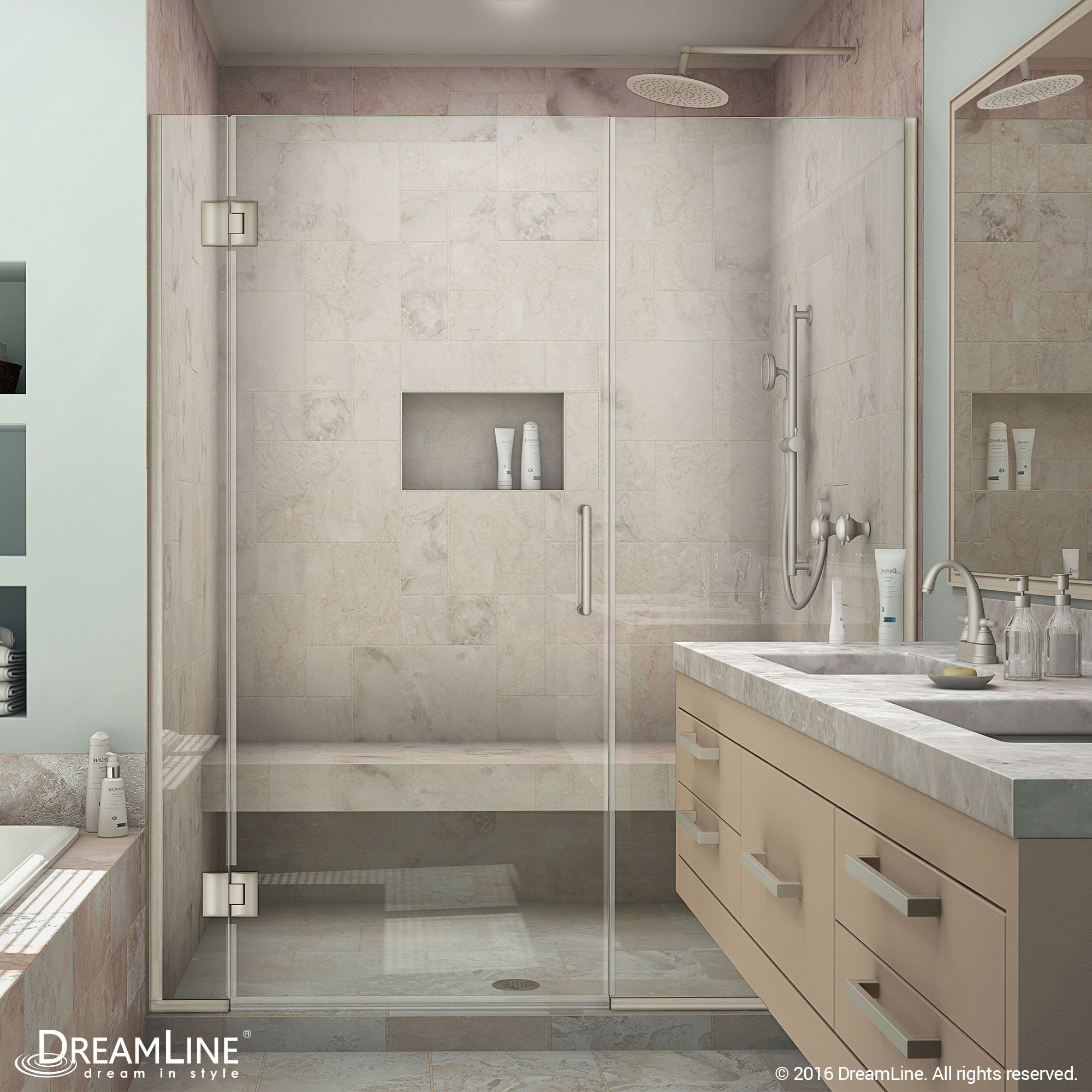 DreamLine D1283072-04 Brushed Nickel Unidoor-X 64 - 64 1/2 in. W x 72 in. H Hinged Shower Door