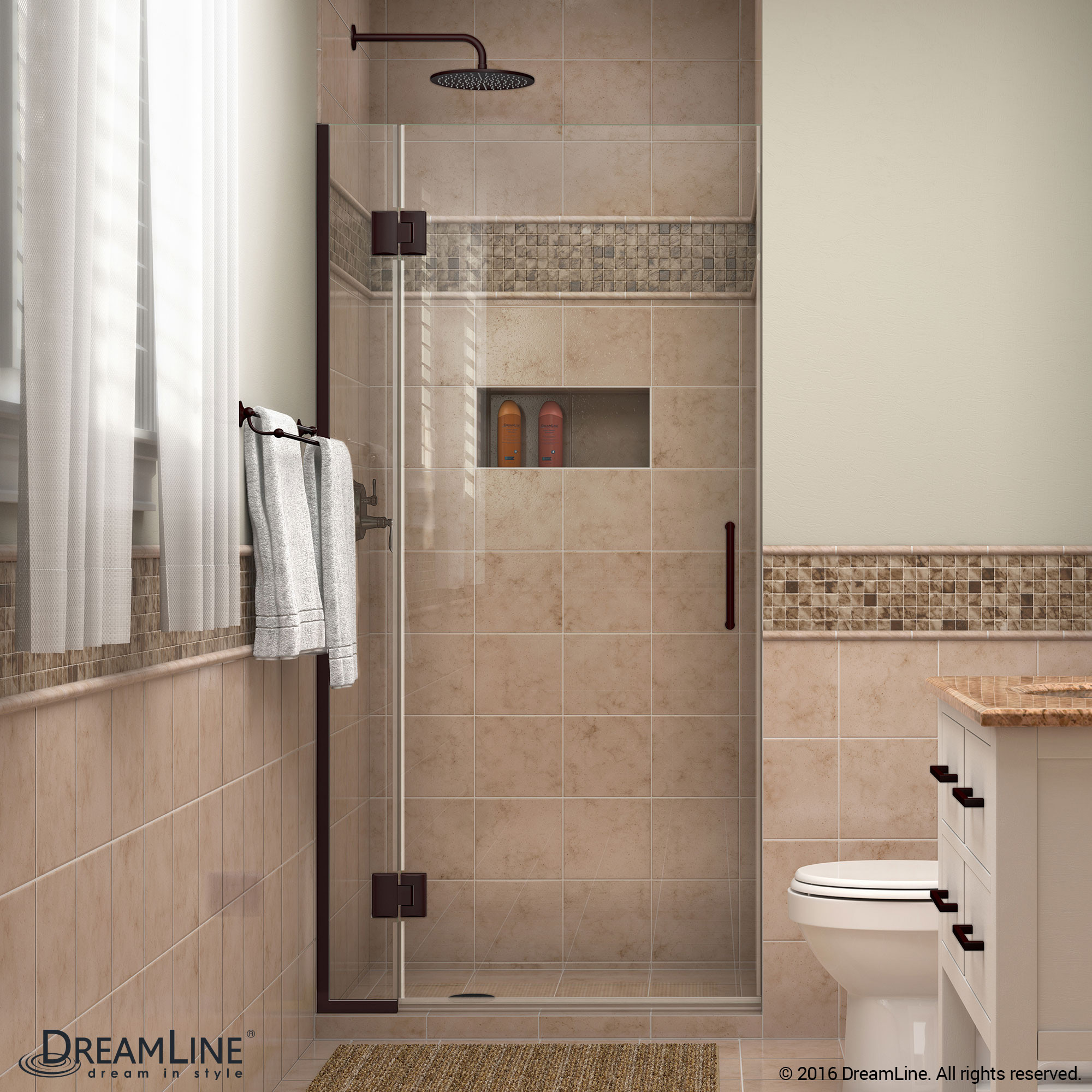 DreamLine D12872-06 Unidoor-X 34 in. W x 72 in. H Hinged Shower Door in Oil Rubbed Bronze Finish