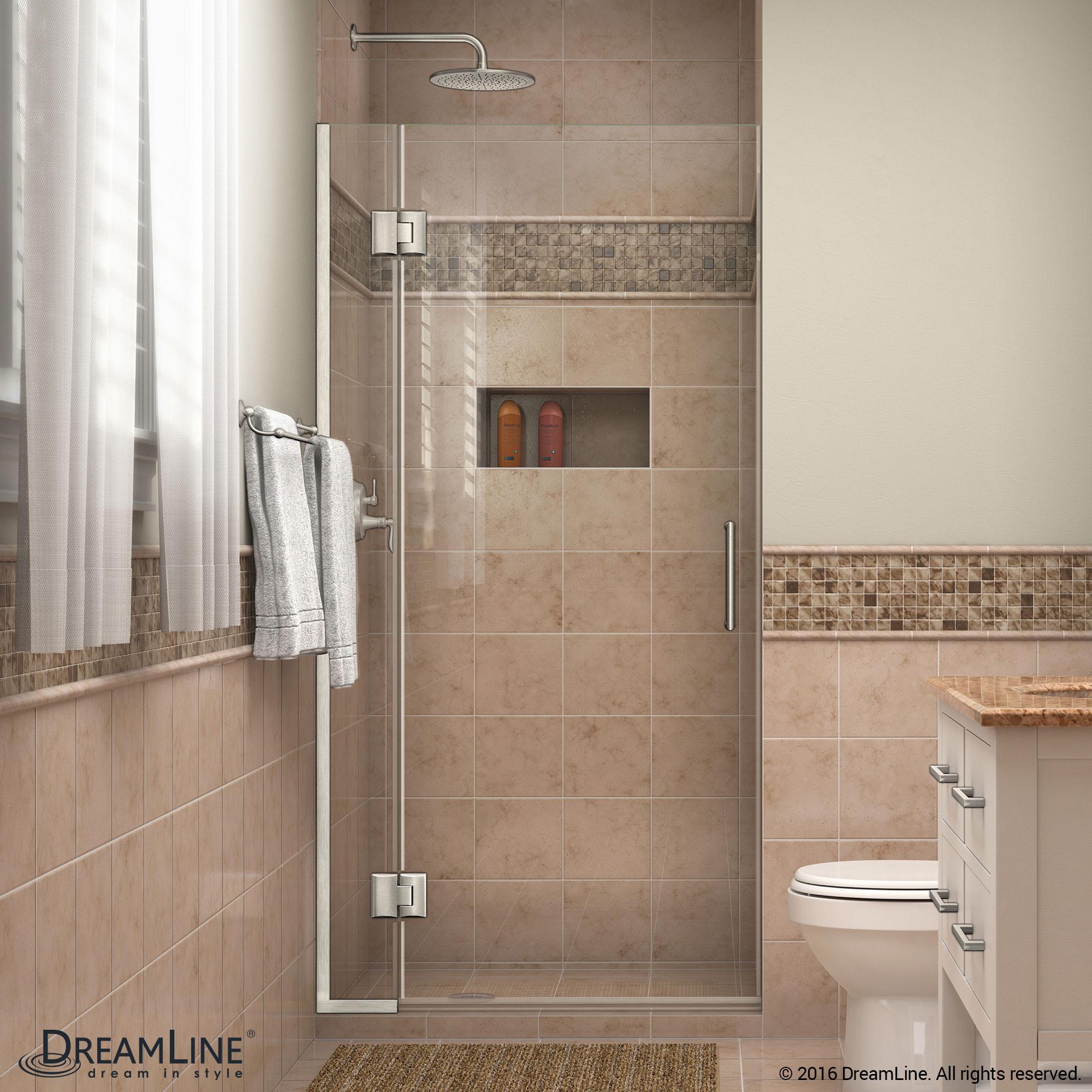 DreamLine D12972-04 Unidoor-X 35 in. W x 72 in. H Hinged Shower Door in Brushed Nickel Finish