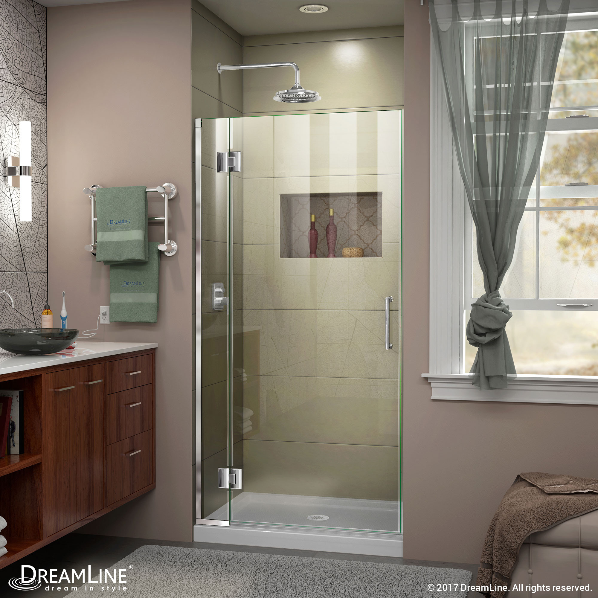 DreamLine D13072-01 Unidoor-X 36 in. W x 72 in. H Hinged Shower Door in Chrome Finish