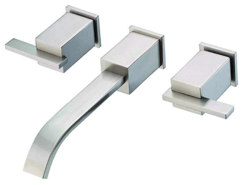 Danze D316144BNT Sirius 2 Handles Wall Mount Lavatory Faucet With Touch Down Drain In Brushed Nickel