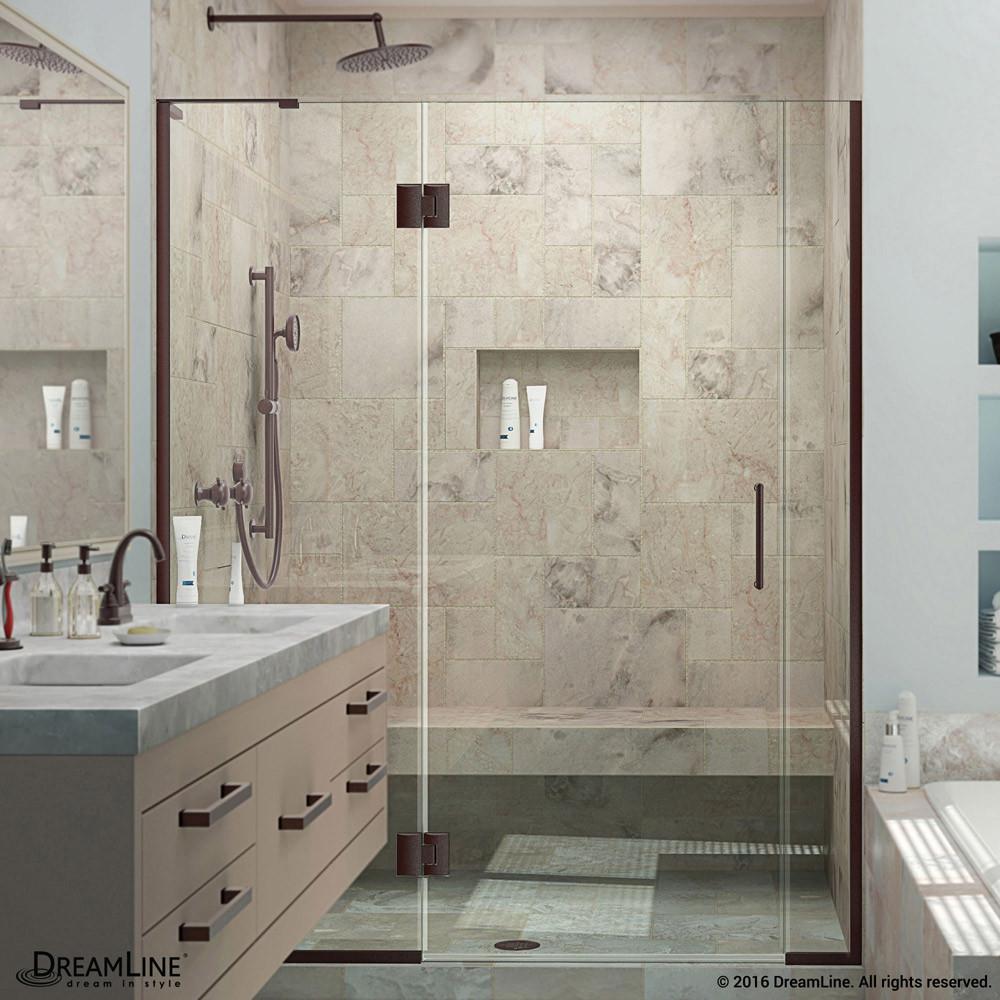 DreamLine D3230672L-06 Oil Rubbed Bronze Unidoor-X Hinged Shower Door With Left-wall Bracket
