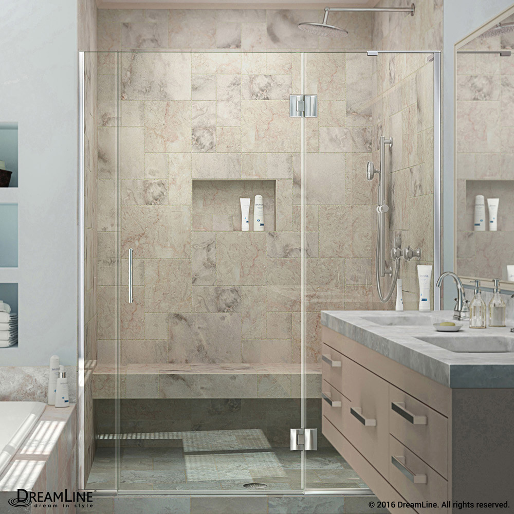 DreamLine D3230672R-01 Unidoor-X Hinged Shower Door in Chrome Finish With Right-wall Bracket
