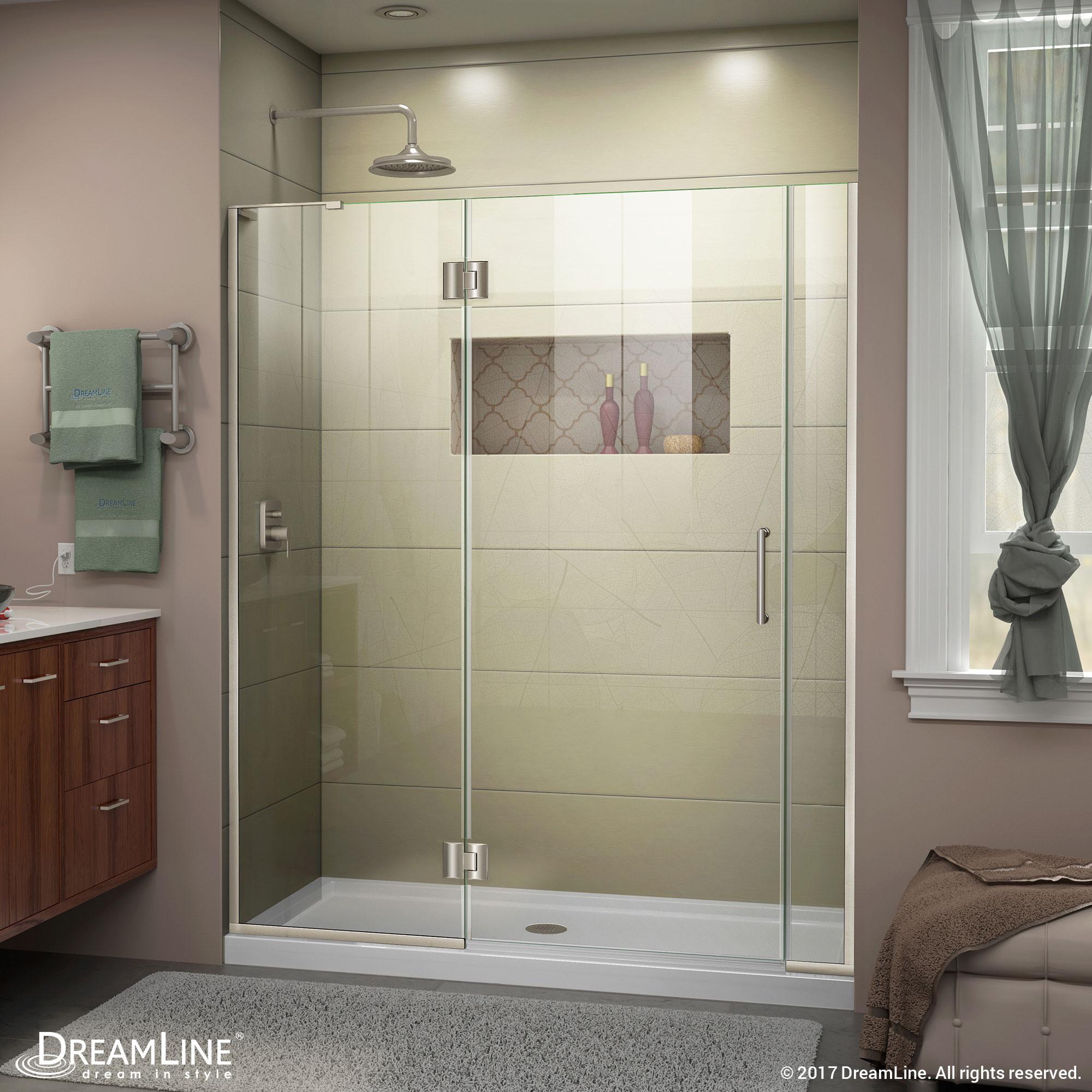 DreamLine D32606572L-04 Brushed Nickel Unidoor-X Hinged Shower Door With Left-wall Bracket