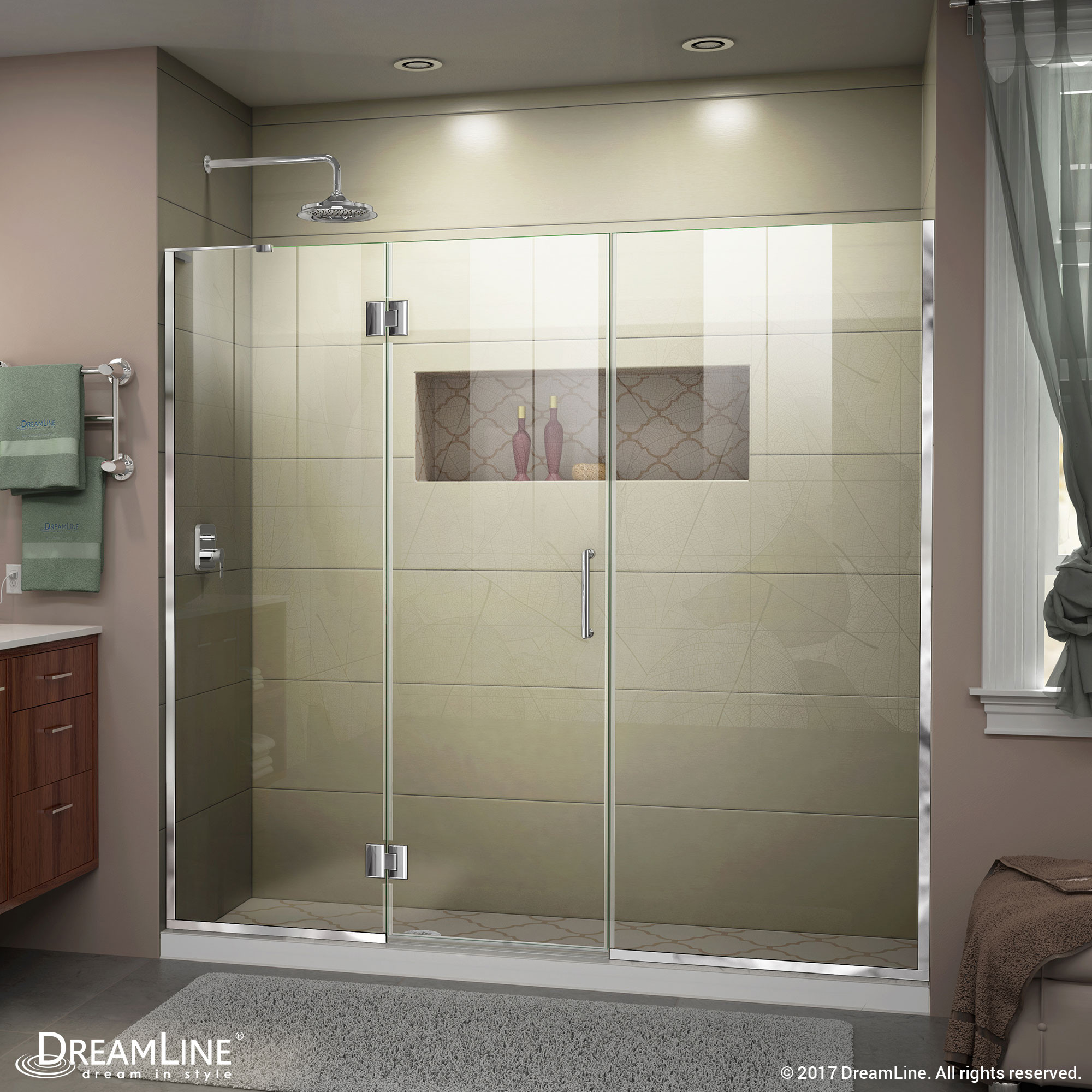 DreamLine D3262272L-01 Chrome Unidoor-X Hinged Shower Door With Left-wall Bracket