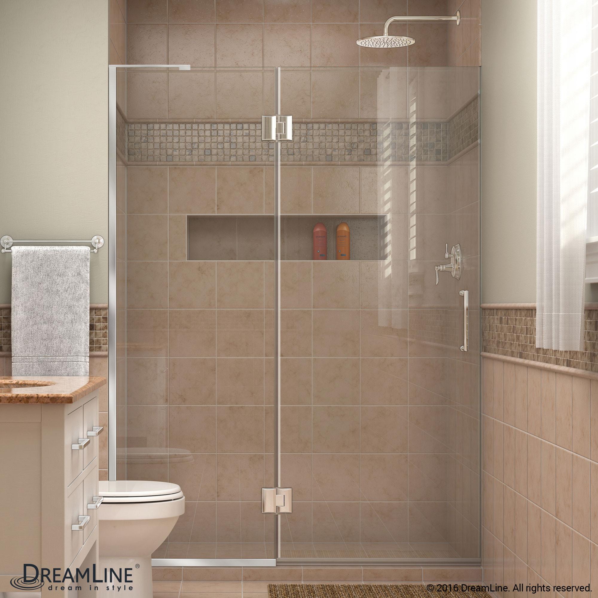 DreamLine D32872L-01 Unidoor-X Hinged Shower Door in Chrome With Left-wall Bracket