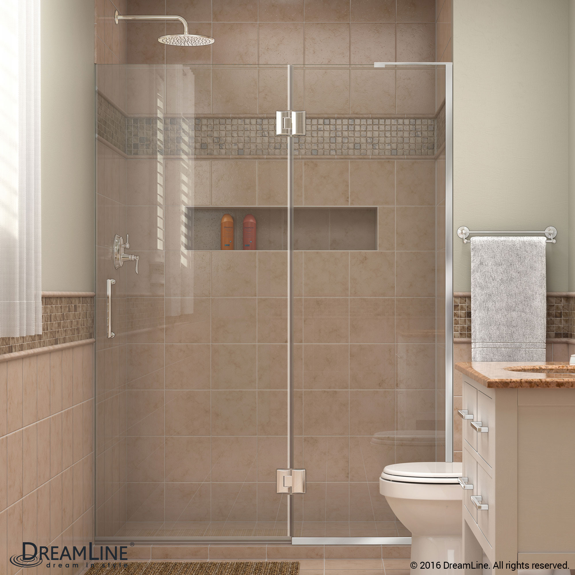 DreamLine D32872R-01 Unidoor-X Hinged Shower Door in Chrome With Right-wall Bracket